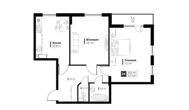 Продаж 2 кім. квартири в ЖК OBRIY3, Малоголосківська, площа 57 кв.м