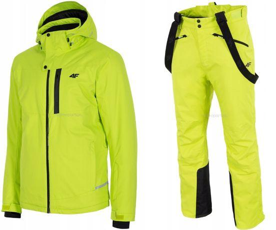 MĘSKI Kombinezon narciarski 4F kurtka+spodnie M limonka
