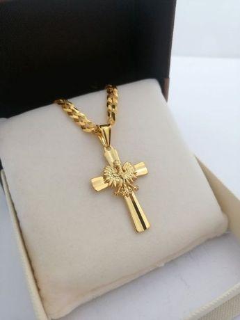 Luksusowy męski łańcuszek pancerka 60 cm +krzyżyk srebro 925+24k złoto