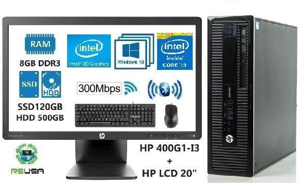 Pack Office PÇ+LCD 4ª Geração I3 3.5Ghz 8Gb C/SSD+HDD+WIFI+BT+KIT+W10