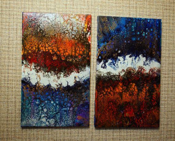Продам картину в стиле Флюид Арт (диптих)