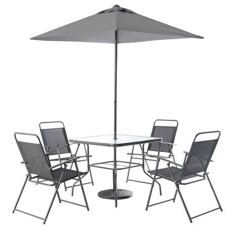 Meble Ogrodowe QUEBEC Stół + 4 Rozkładane Krzesła + Parasol