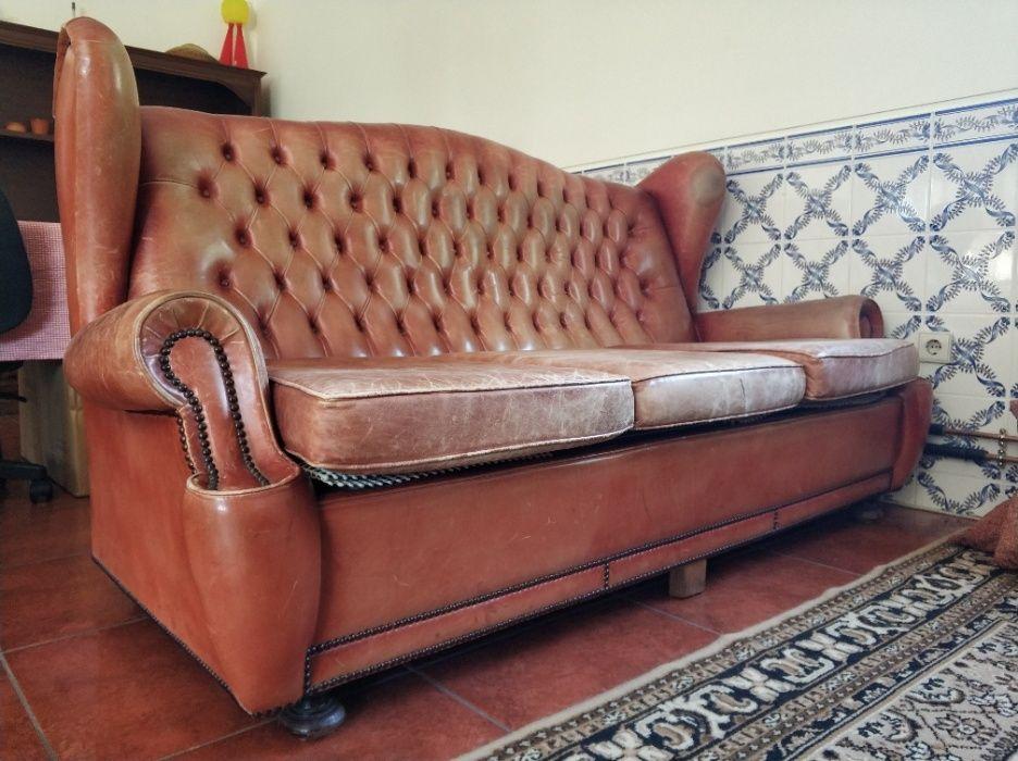 Sofas em Pele Vintage, com 50 anos Braga - imagem 1
