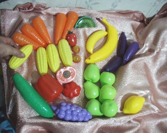 Игушка комплект 31 предметов овощи фрукты для игрушечной кухни разного