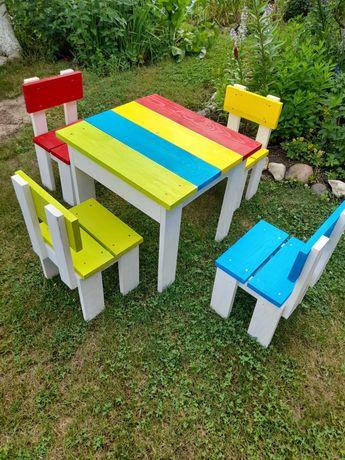 Stolik ogrodowy +krzesełka drewno, dla dzieci