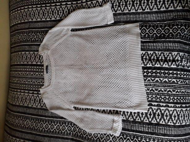 Nowy biały sweter ażurowy L