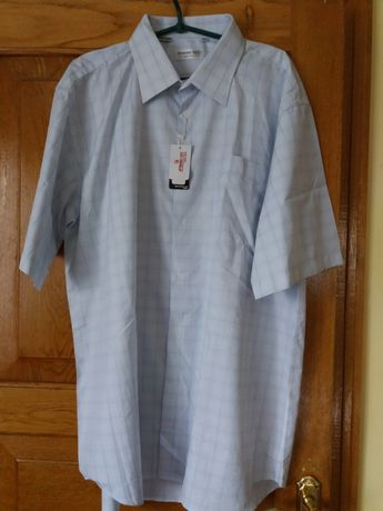 Ніжно голуба сорочка в клітинку. Нова з біркою. Великий розмір