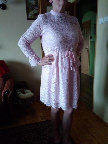 NOWA Piękna, koronkowa sukienka z długim rękawem L / XL 40/42