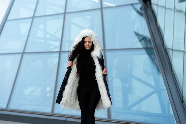 Женская зимняя куртка 3в1 со съёмным мехом, цвет темно-синий