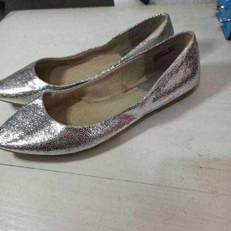 Блестящие туфли балетки нарядные праздничные серебристые   Длина 24 см