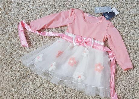 Pudrowa Sukienka Kokardka Kwiatuszki Długi Rękawek 86 92