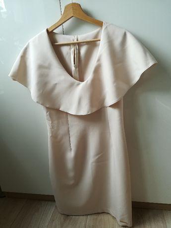 Wizytowa sukienka By Mielczarkowski r. M na chrzciny wesele kremowa