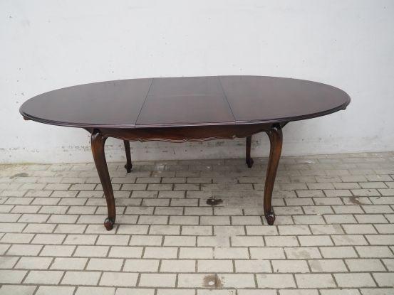 Ciemny owalny rozkładany stół ludwikowski 181