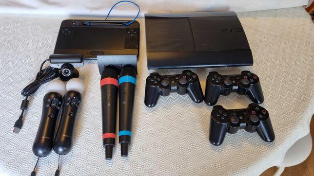Sony PS3 Slim (SSD) + Move + Singstar + uDraw + Volante + 29 jogos