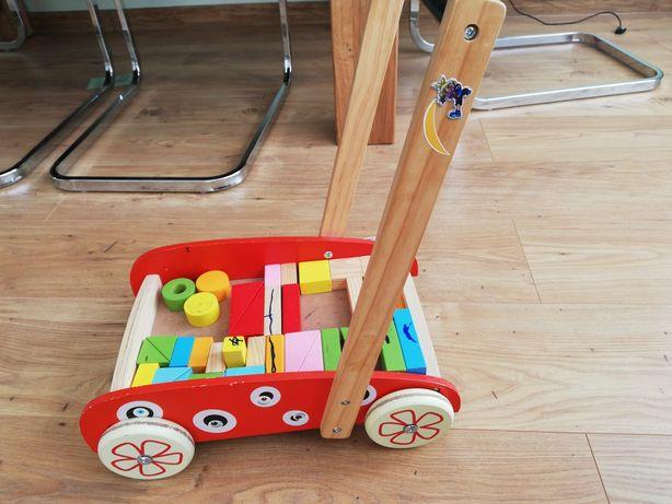 Drewniany wózek z klockami, chodzik, pchacz marki Ecotoys