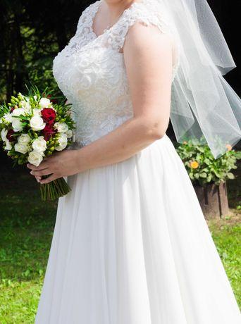 Suknia ślubna śmietankowa, muślinowa plus size + welon gratis