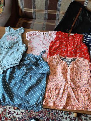 Продам летние платьица  и топики на малышей от74размера Импорт