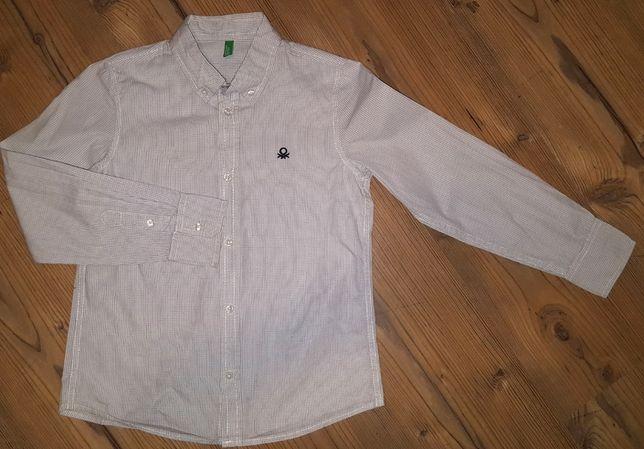 Benetton koszula biała drobna kratka r. 140 chłopiec