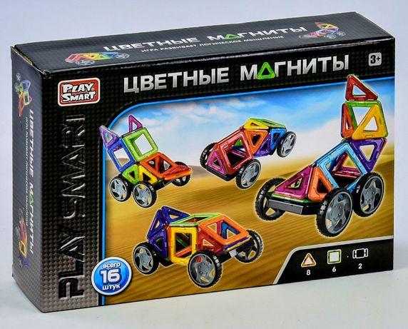 Акция Конструктор магнитный 2426 Play Smart 16 деталей, 5 моделей