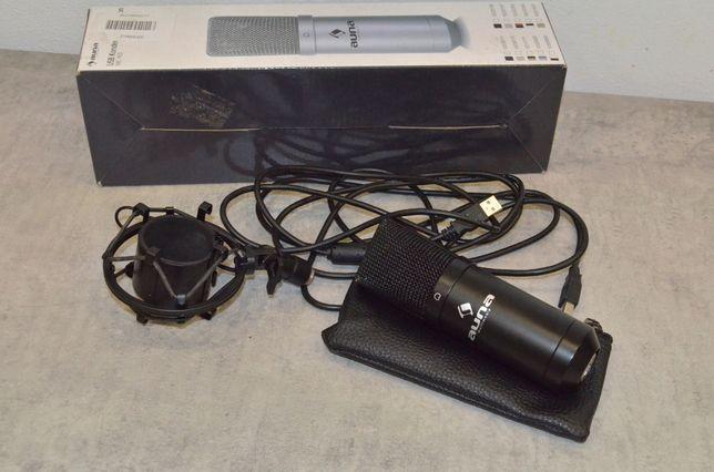 Mikrofon pojemnościowy czarny studyjny MIC-900B-LED USB Nowy