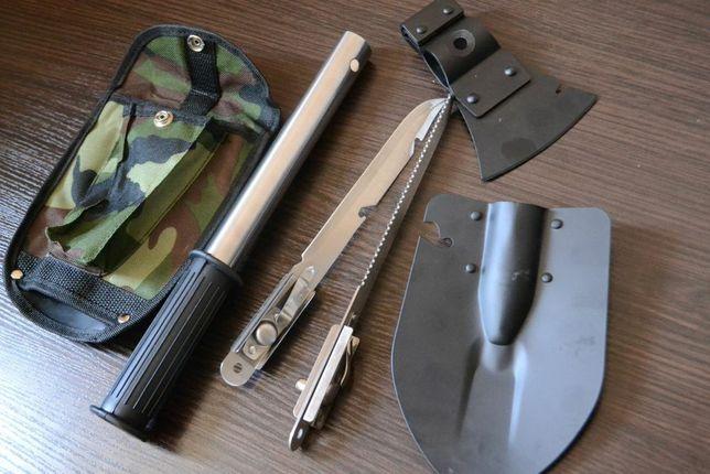 Туристическая  лопата 5 в 1 топор, нож, пила для туризма и рыбалки