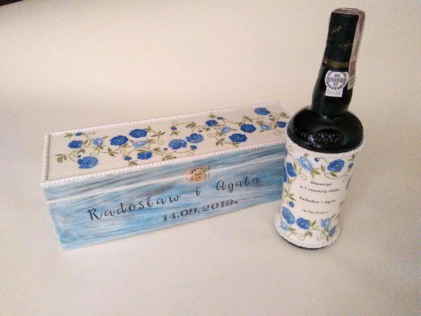 Komplet skrzynia na wino z winem prezent ślubny