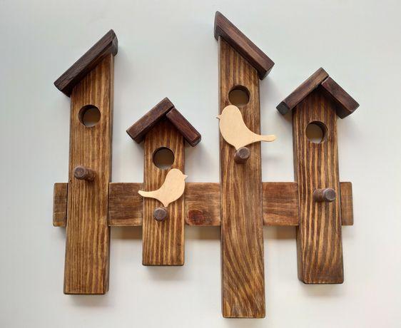 Drewniany wieszak handmade - ptaszki. Na prezent.