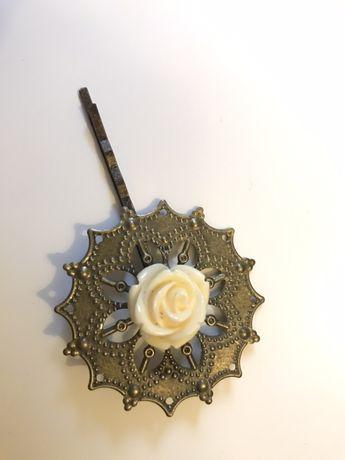 Wsuwka do włosów rozeta róża antyczny brąz handmade