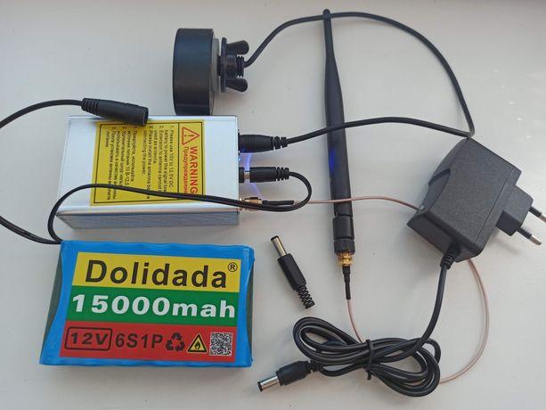 Akumulator 12V litowo-jonowy Li-lon + Ładowarka + wtyk Łódka Zanętowa
