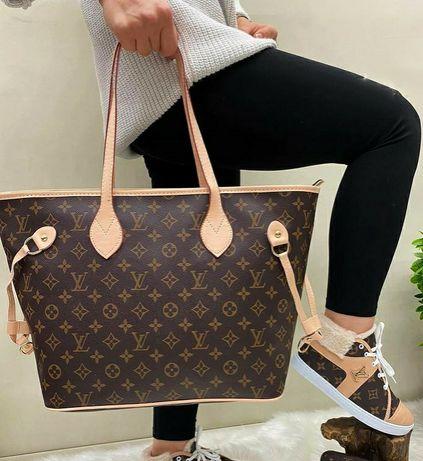 Брендовая кожаная женская сумка шопер Louis Vuitton Луи Витон 3в1