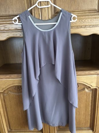 Sukienka zwiewna M/ L oversize popielata