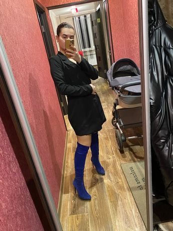 Продам свои бомбическеи замшевые сапоги Fasino,ботфорты синие 39