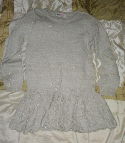 Dzianinowa sukienka tunika 116-122 cm