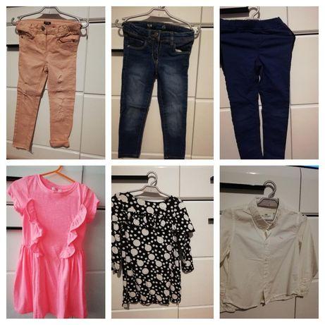 Zestaw Sukienka, jeansy,spodnie, koszula HM, Next, Smyk 104-110