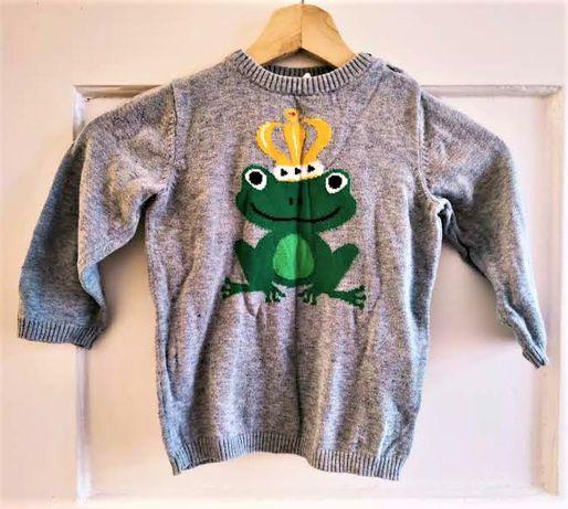 Sweterek melanżowy z żabką H&M 92