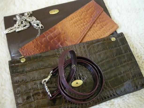 Женская сумочка, клатч из натуральной кожи под крокодила с кошельком.