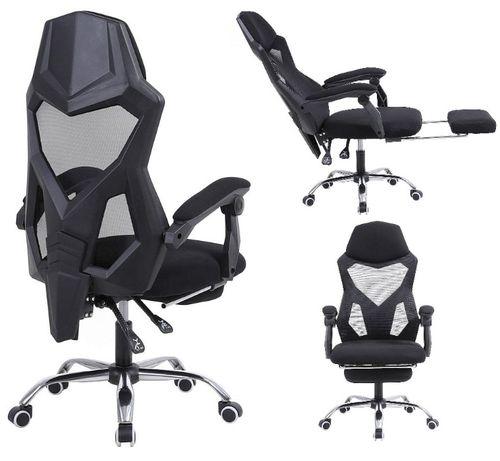 FOTEL GAMINGOWY krzesło gracza biurowy obrotowy wysuwany podnóżek