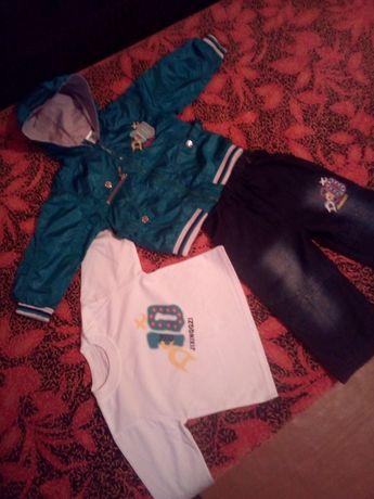 Костюм весенний комплект куртка джинсы кофточка