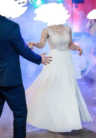 Suknia ślubna roz 36-38, stan bdb, lekka, zwiewna
