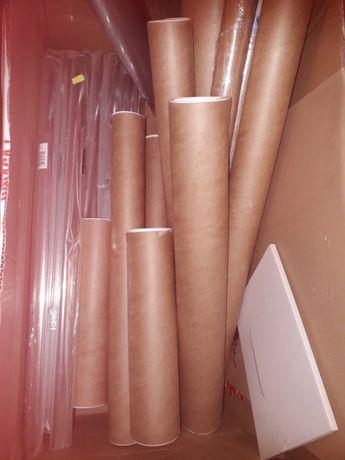 Tuby kartonowe, szary papier, folia zwijana , teczki karton