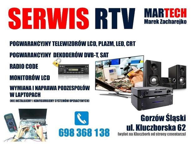 Serwis rtv, naprawa telewizorów lcd, Gorzów, Praszka, Kluczbork Olesno