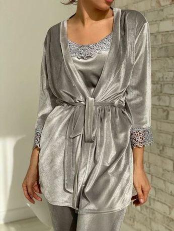 Пижама, Женская велюровая пижама 4 в 1 СЕРЫЙ