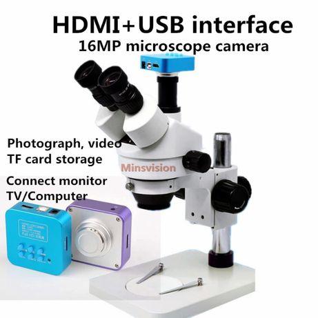 Microscópio Minsvision 7X-45X Trinocular Estéreo com Camera HD 16MP