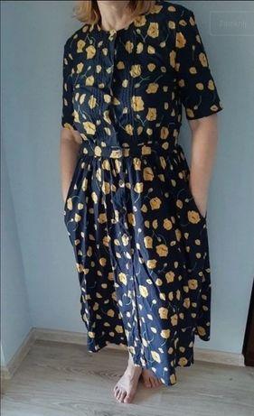 Sukienka granatowa w kwiaty bawełna L XL