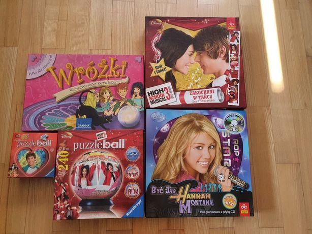 Gry planszowe dla dziewczyn, puzzle3D - 5 zestawów - Hannah Montana