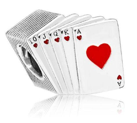 Charms PANDORA Srebro 925 Talia kart poker as król serce