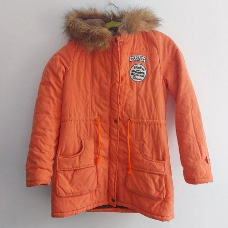 Kurtka S zimowa futerko 164cm pomarańczowa dla chłopca