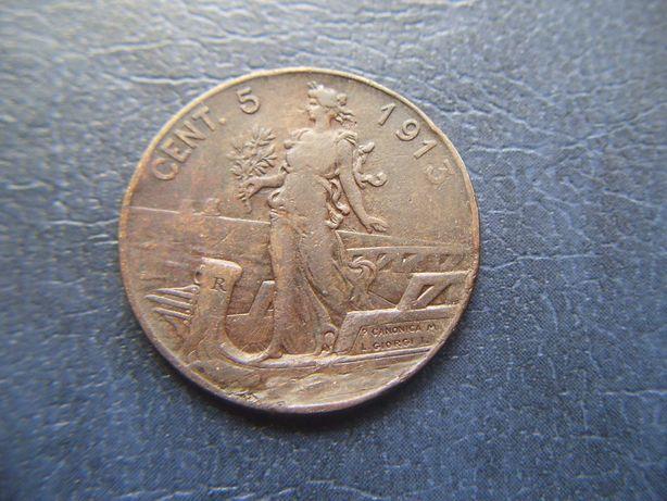 Stare monety 5 centesimi 1913 WŁochy