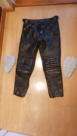 Spodnie motocyklowe skórzane z ochraniaczami na kolana