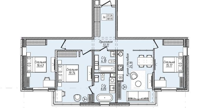 3-комнатная квартира. 99 м2. Есть Рассрочка! Офомление 0% Центр!